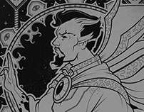 Doctor Strange - Silver on Black