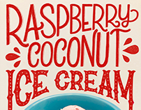 Raspberry Coconut Ice Cream | Hand Lettered Food Series