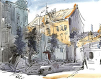 Watercolor sketches of the old town