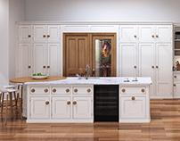 Oak kitchen with meat locker