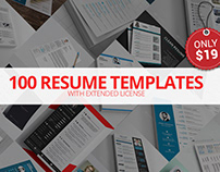 100 Resume Templates with Extended License