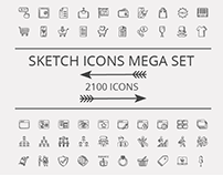 2100 vector sketch doodle icon pack