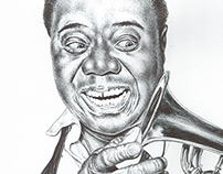 Bic biro drawing of Louis Armstrong