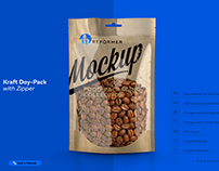 Mock-up Kraft Doy-Pack with Zipper W2