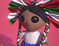 3D, sculpture made in zbrush. Mexican rag doll.
