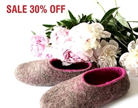 SALE 30% OFF - Handmade Wool Felted Slippers for All