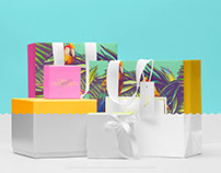 Three Boxes with Two Shopping Bag PSD Mockup