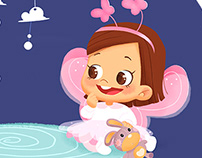 Digital children's illustration: winged puppies