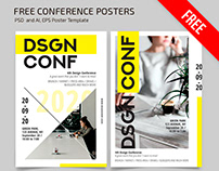 FREE CONFERENCE POSTER TEMPLATE IN PSD + AI, EPS