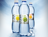 Luna flavored water logo, branding, package design