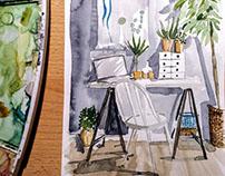 Watercolor interior sketches