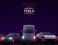 Cartoon Low Poly Tesla Cars Pack
