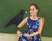 a girl and a raven