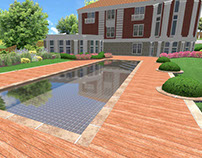 Swimming pool. English garden