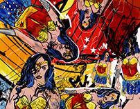Wonder Woman mixed medium collage
