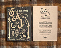 Linocut Invitation Suite