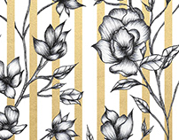 Flower Illustrations and Gold Foil