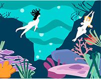 Underwater, illustration.