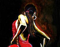 """Flamenco"" - Acrylic on paper"