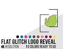 Flat Glitch Logo Reveal, After Effects Template