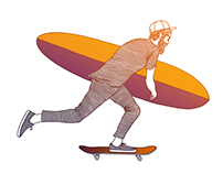 Skateboarding Surfer T-shirt Graphic Illustration