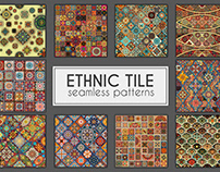 Vintage ethnic tribal tile mosaic seamless patterns set