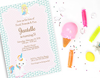 Unicorn birthday party invitation, editable, printable