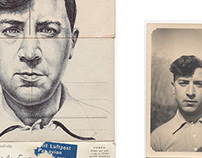 bic biro drawing on a collection of antique postcards..