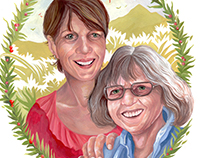 Mother's day, gouache portrait pieces.