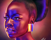 Danai Jesekai Gurira Digital painting by Wayne Flint