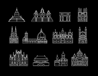100 world-famous architectural masterpieces in outline