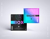 Free Sachet With Box Mockup