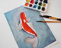 Koi Fish Watercolor Illustration