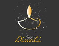 Diwali beautiful lamp template