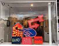 'Hand Drawn Maps' window installation