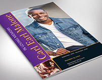 Purple Gold Funeral Program Word Publisher Template
