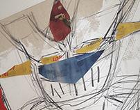 Mazinger - Collage su tela dipinta / Aprile 2018