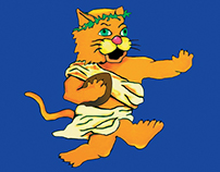 L-Cat in Toga Mascot Illustration