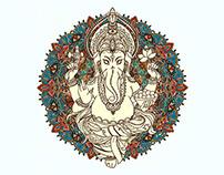 Lord God Ganesha. Hinduism. Vector