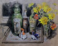 """""""Ночной натюрморт на кухне."""" Крафт, карандаши. 29 x 41"""