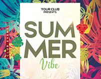 Summer Tropical - Floral psd flyer template freebie