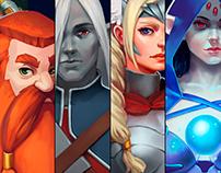 """Sundown, kingdoms story"" game art (characters)."