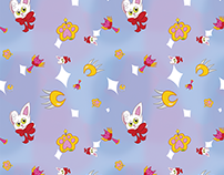 Magical Cat Girl Fabric