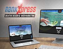 RankXpress branding, web design, print design