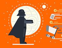 Millennial b2b buyers. Star Wars theme. Infographics.