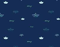 Repeat print ships Elements designed on Illustrator