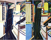 "Wayne Thiebaud ""Sunset Streets"" Acrylic Reproduction"