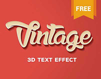 Vintage Themed Free PSD 3D Text Effect