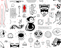 Middle school style tattoo flash
