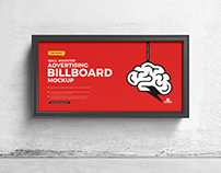 Free Wall Mounted Advertising Billboard Mockup